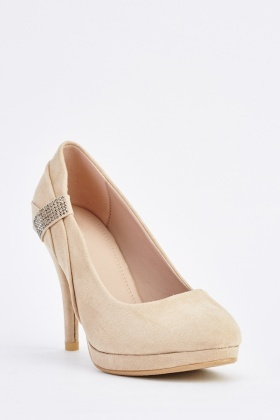 Encrusted Suede Heeled Pumps