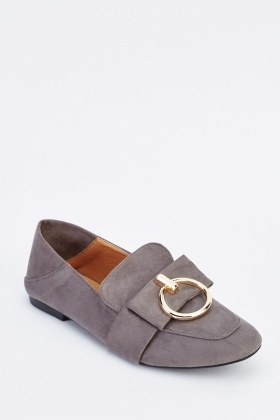 Metal Detail Suede Loafers