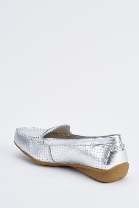 Metallic Flat Moccasin Loafers