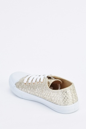 Metallic Weave Textured Plimsolls