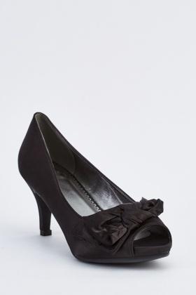 Sateen Peep-Toe Mid Heel Shoe - Just $3