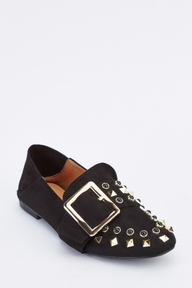 Studded Buckle Suede Loafers