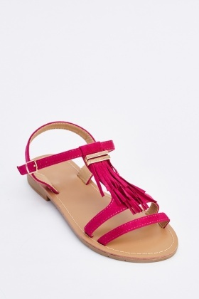 T-Strap Fringed Sandals