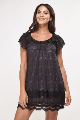 Embellished Lace Overlay Tunic Dress