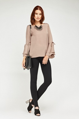 Frilly Tie Sleeve Chiffon Blouse