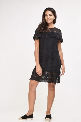 Lace Ruffle Overlay Shift Dress