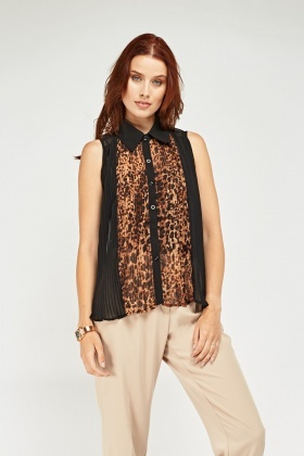 Pleated Sheer Leopard Print Top