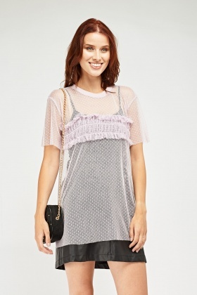 Ruched Detail Sheer Mesh Top