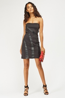 Faux Leather Straps Contrast Bandeau Dress