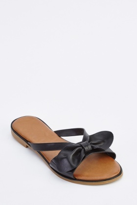 Bow Detail Slide Sandals
