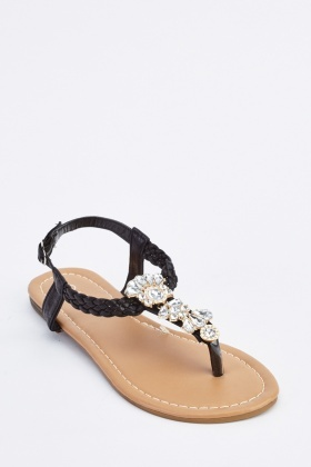 Diamante Encrusted T-Strap Sandals