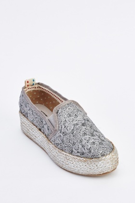 Embroidered Slip On Chunky Espadrilles