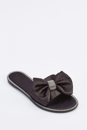 Encrusted Sateen Bow Slides