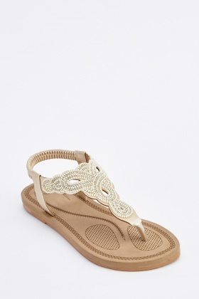 Encrusted T-Strap Flat Sandals