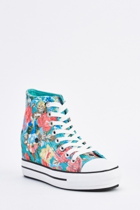 Printed High Top Wedge Trainers