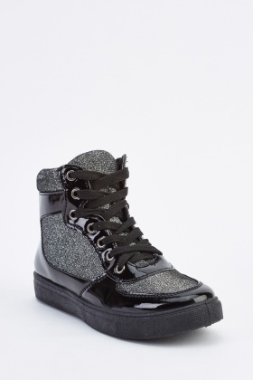 PVC Metallic Contrast High Top Trainers