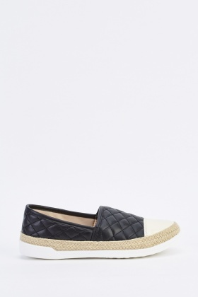 Quilted Contrast Slip On Espadrilles