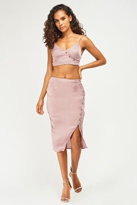Button Front Bralet And Midi Skirt Set