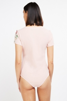 Embroidered Sleeve Bodysuit