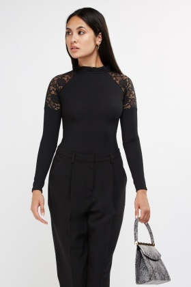 Lace Insert Ribbed Bodysuit