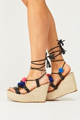 Pom-Pom Tie Up Wedge Sandals