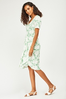 Printed Ruched Midi Wrap Dress