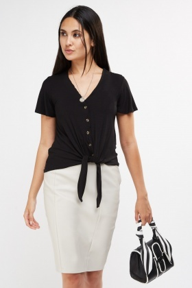 Tie Up Button Front Top
