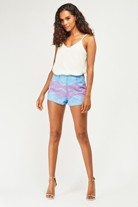 Two Tone Lace Overlay Shorts