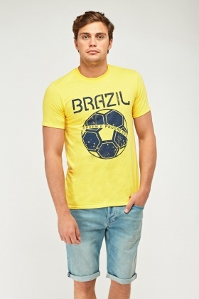 Yellow Brazil Football T-Shirt