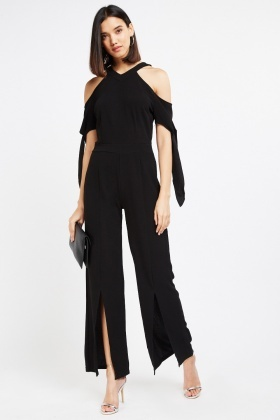 Cold Shoulder Halter Neck Jumpsuit