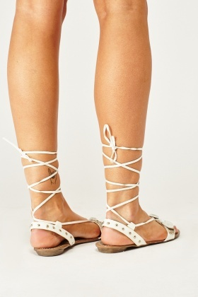 Embellished Lace Up Flat Sandals