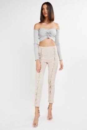 Lace Up Skinny Fit Trousers