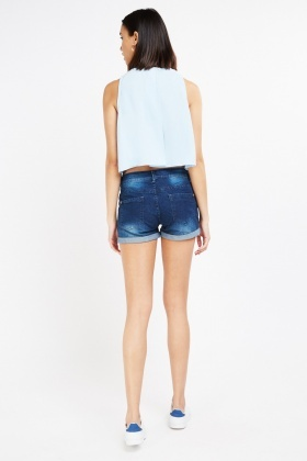 Rose Embroidered Denim Shorts