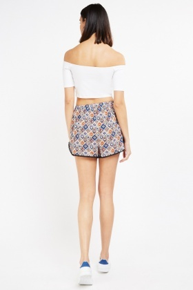 Tile Print With Crochet Trim Shorts