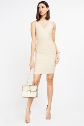 V-Neck Bandage Bodycon Dress