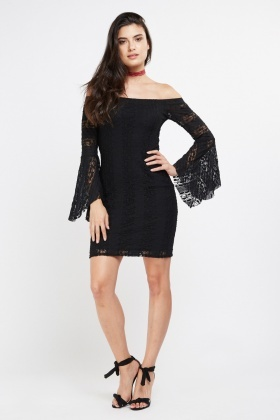 Angel Sleeve Off Shoulder Lace Dress