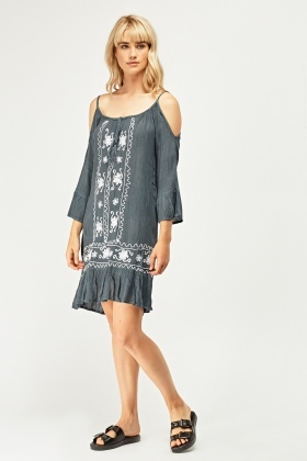 Embroidered Cut Out Shoulder Tunic Dress