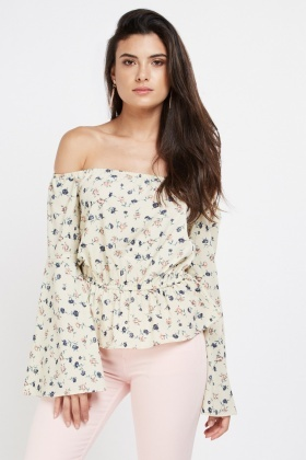 Printed Frilly Off Shoulder Top