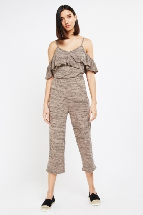 Ruffle Overlay Speckled Jumpsuit