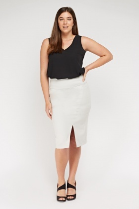Slit Front Midi Pencil Skirt