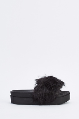 Chunky Open Toe Faux Fur Sliders