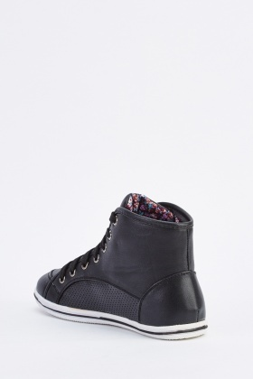 Contrasted Faux Leather Lace Up Trainers