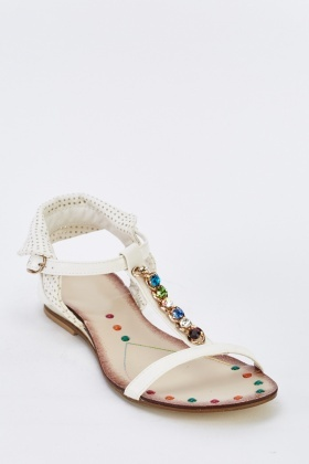 Embellished T-Strap Flat Sandals