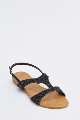 Glitter Encrusted Flat Sandals