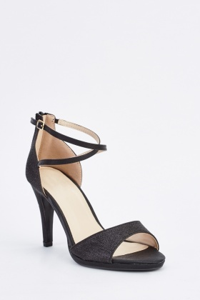 Lurex Cross Strap Sandal Heels