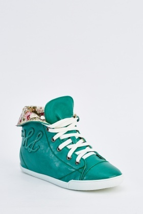 Patterned Fold Down Hi-Top Trainers