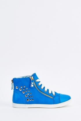 Studded Contrast High Top Trainers