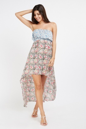 Asymmetric Printed Bandeau Dress
