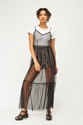 Frilly Hem Mesh Net Maxi Dress