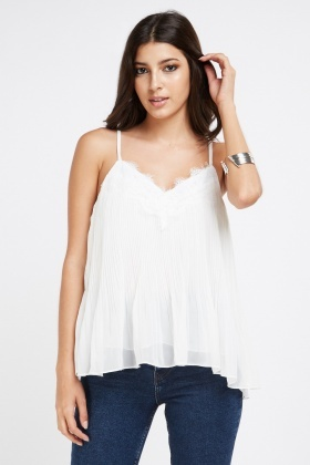 Lace Sheer Pleated Cami Top